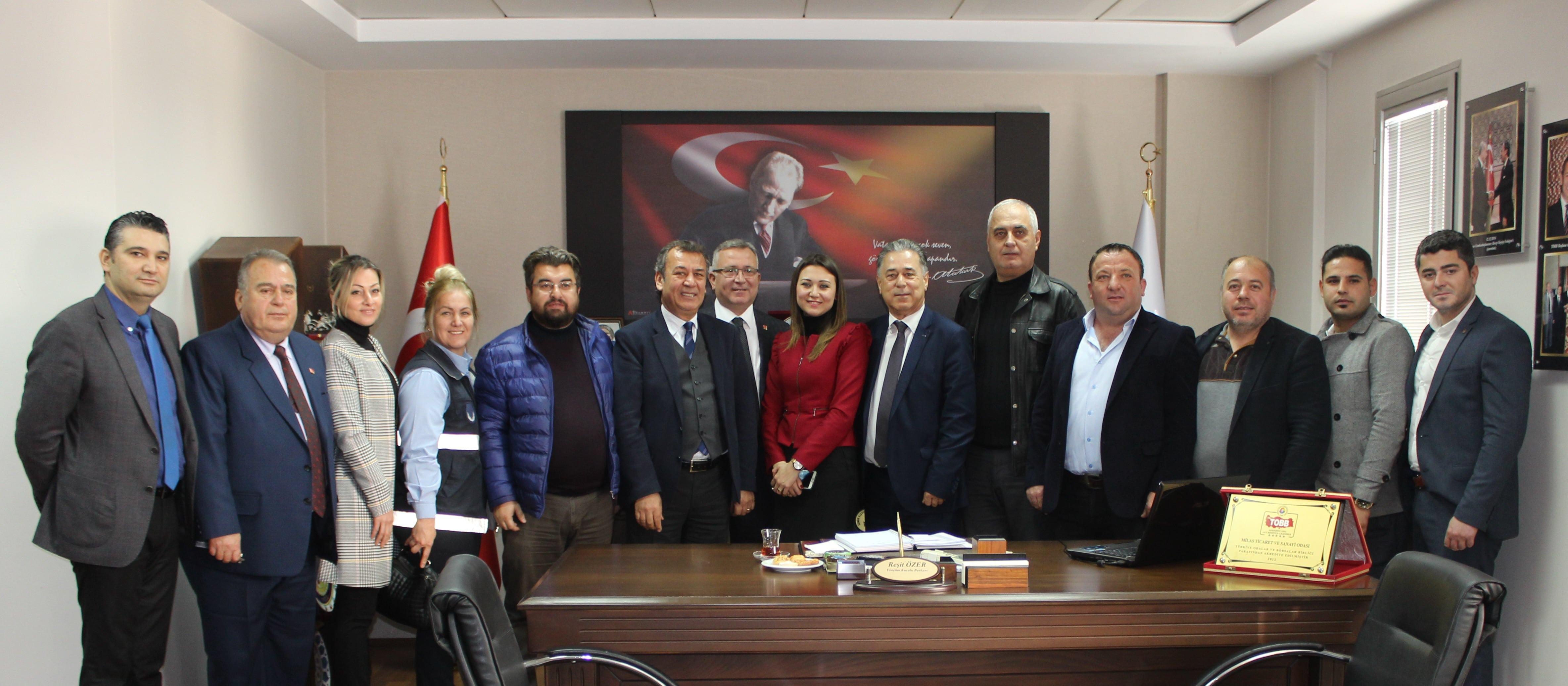 """CHP Milas İlçe Yönetiminin MİTSO'yu ziyaretinde konuşan Reşit Özer; """"MİLAS İKİ YIL İÇİNDE PARLAYAN BİR YILDIZ OLACAK"""""""